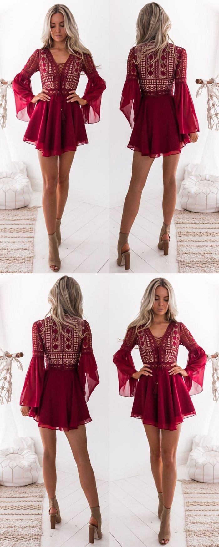 Long Sleeve Semi Formal Dresses For Teens Cheap Burgundy Chiffon Homecoming Dre Semi Formal Dresses For Teens Formal Dresses For Teens Lace Dress With Sleeves [ 1748 x 700 Pixel ]