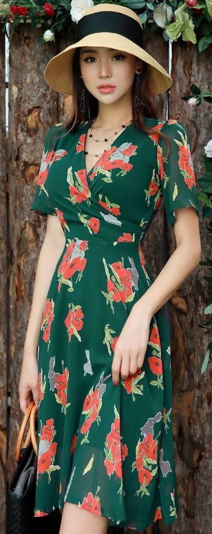 StyleOnme_Red Floral Print Wrap Flared Dress #green #elegant #feminine #koreanfashion #kstyle #kfashion #seoul #dailylook #summertrend #dress