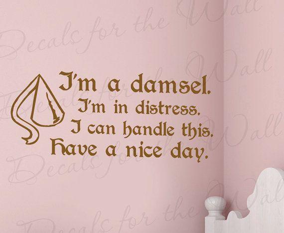 Hercules Im Damsel I Can Handle Disney Girl Room Kid Nursery Wall Decal Art Mural Vinyl Lettering Quote Sticker Decoration Saying Decor B72