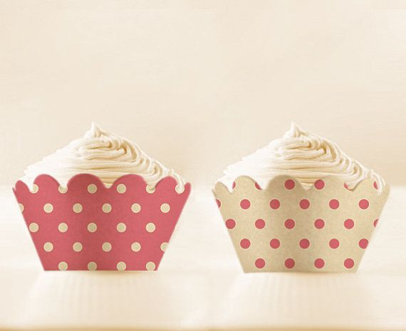 Cupcake Wrappers Printable PINK HONEYSUCKLE Retro by AllFullOfLove, $2.99