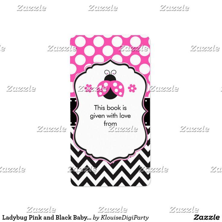 Ladybug Pink and Black Baby Shower Bookplate