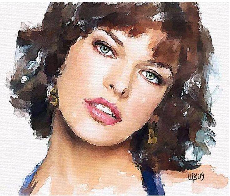 Vitaly Shchukin - Watercolor portrait. Milla Jovovich http://www.painterlog.com/