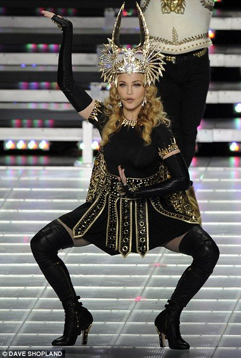 Madonna at the 2012 NFL Super Bowl. Best halftime show in a while. She looked fabulous.