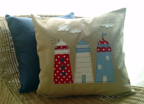 Sold on Etsy and relisted...Lighthouse applique cushion cover in natural linen by mojosewsew, $50.00