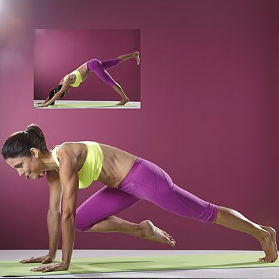 Tone your abs, legs and shoulders with this Knee Bend Yoga move from Bethenny Frankel. #fitness   Health.com