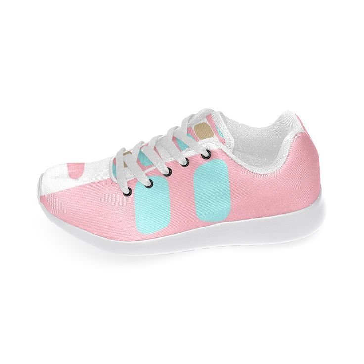Running shoes -pastel stripes with dots Custom Brand New Running Shoes for Women