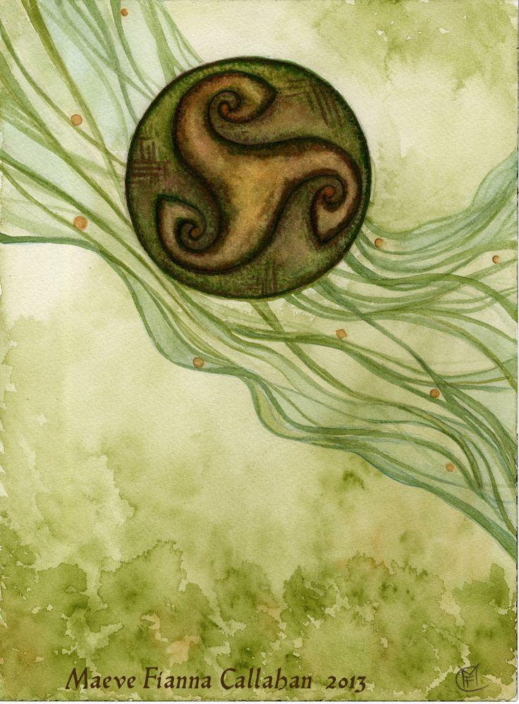 'Welsh Water Wheel' watercolor 2013 Maeve Fianna Callahan