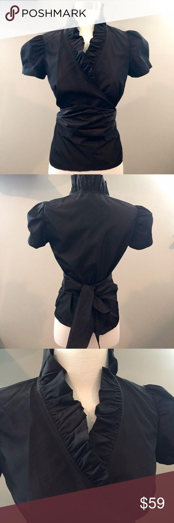 SALE🌲Gorgeous Zara UK ruffle wrap black blouse Gorgeous Zara UK ruffle wrap black blouse Zara Tops Blouses