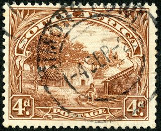 """Union of South Africa  1928 Scott 28a (SG 35b) 4d brown """"Native Kraal"""" Engraved; No Hyphen"""
