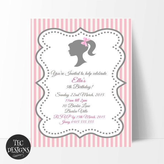 Barbie Invitation Edit and Print your own invitation by TECDesigns