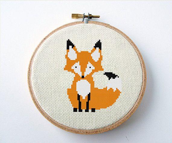 Fox Cross Stitch Pattern PDF Digital by MidCenturyMaude on Etsy, $5.00