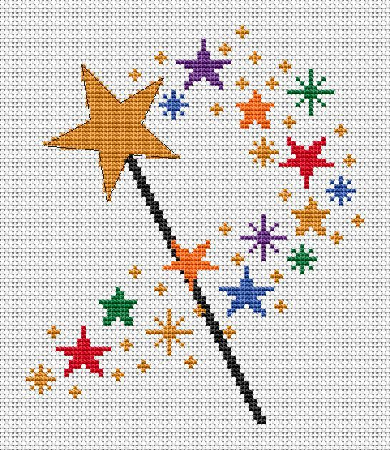 Magic wand cross stitch pattern simple by ClimbingGoatDesigns