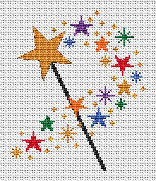 Magic wand cross stitch pattern simple by ClimbingGoatDesigns