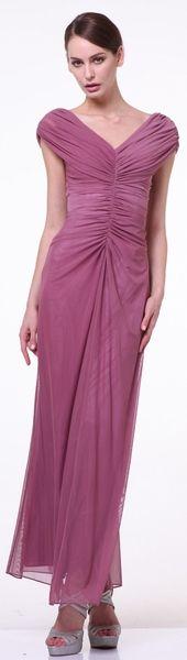 Long V Neckline Semi Formal Gown #discountdressshop #vneck #semiformal #chiffon #weddings