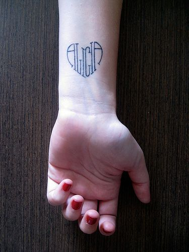Name tattoo shaped into a heart Tattoo @Alycia Morris