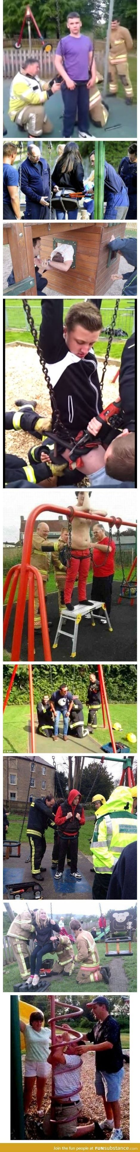 Why adults should be banned from using children's playground equipment . . .