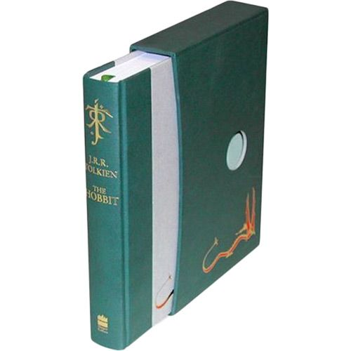 The Hobbit - This deluxe slipcased edition of The Hobbit, printed and bound using superior materials including a silk ribbon marker, features the definitive text, plus Tolkien's paintings and drawings in full colour, and a special fold-out version of Thror's Map. Bilbo Baggins enjoys a quiet and contented life, with no desire to travel far from the comforts of home; then one day the wizard Gandalf and a band of dwarves arrive unexpectedly and enlist his services - as a burglar. [...]