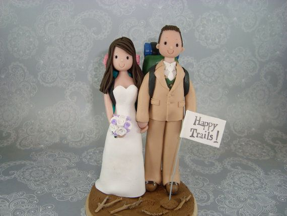 Custom Bride & Groom Hiking Theme Wedding Cake Topper by mudcards, $170.00