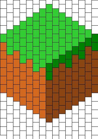 Minecraft Grass Block -Bead Pattern