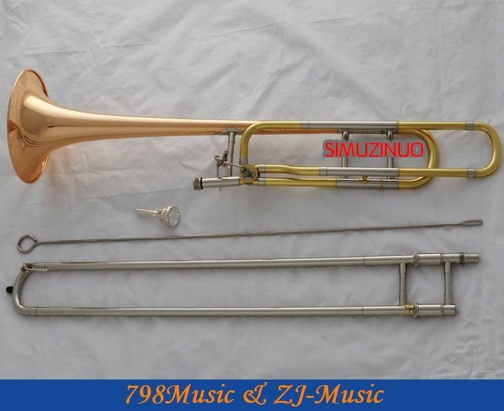 616.55$  Buy here  - Professional Rose Brass Bell Tenor Trombone Bb/F Keys Horn With Case