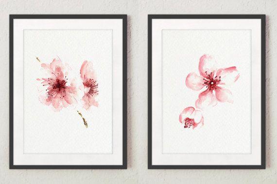 Cherry Blossom illustratie Set 2 roze aquarel door ColorWatercolor