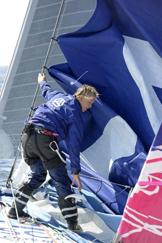 Sophie Ciszek training for the 2014 Volvo Ocean Race. Photo from @ricktomlinson @weareteamsca
