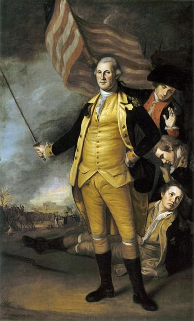 Charles Willson Peale:  Washington at Princeton, 1784.  Peale painted Washington more times from life than any other artist--7 times.  This painting was commissioned by the Supreme Executive Council of Pennsylvania, now owned by the PA Academy of Fine Arts.  Peale replicated this extremely successful portrait many times.