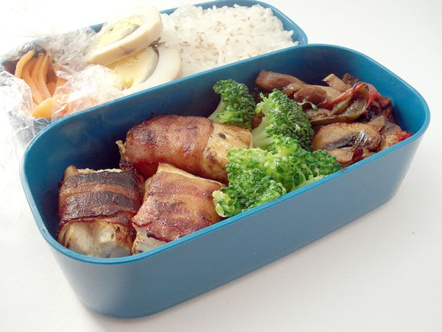 Bacon Wrapped Tofu from Just Bento: Bacon Wrapped Tofu, Bento Boxes, Bento Ideas, Lazy Tea, Mushrooms Peppers Onions, Bacon Tofu
