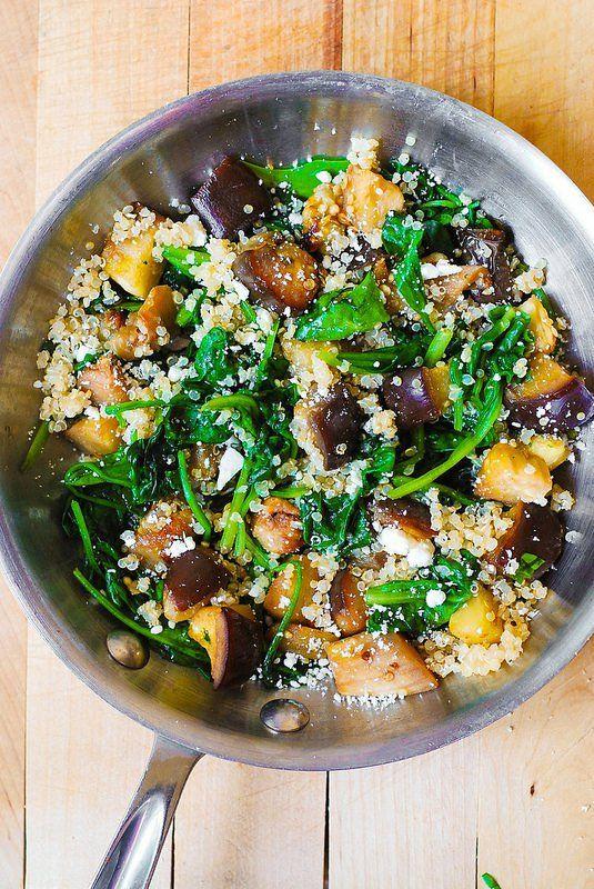 Eggplant, spinach and feta quinoa