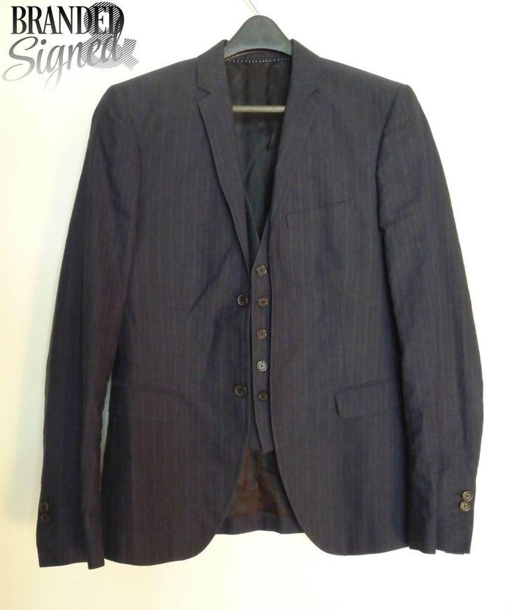 Neil BARRETT Suit Jacket Blazer 36 Reg w/ Vest Men s Blue pinstriped size MEDIUM