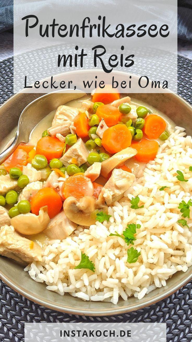 Hühnerfrikassee mit Reis kennen und lieben wir alle. Putenfrikassee mit Reis is …