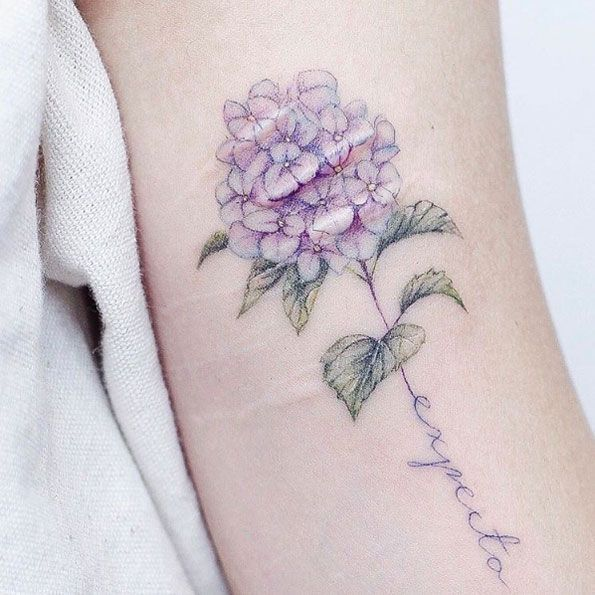 Scar-concealing hydrangea tattoo by Mini Lau