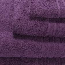 purple bathroom towels would go well with creams and greys