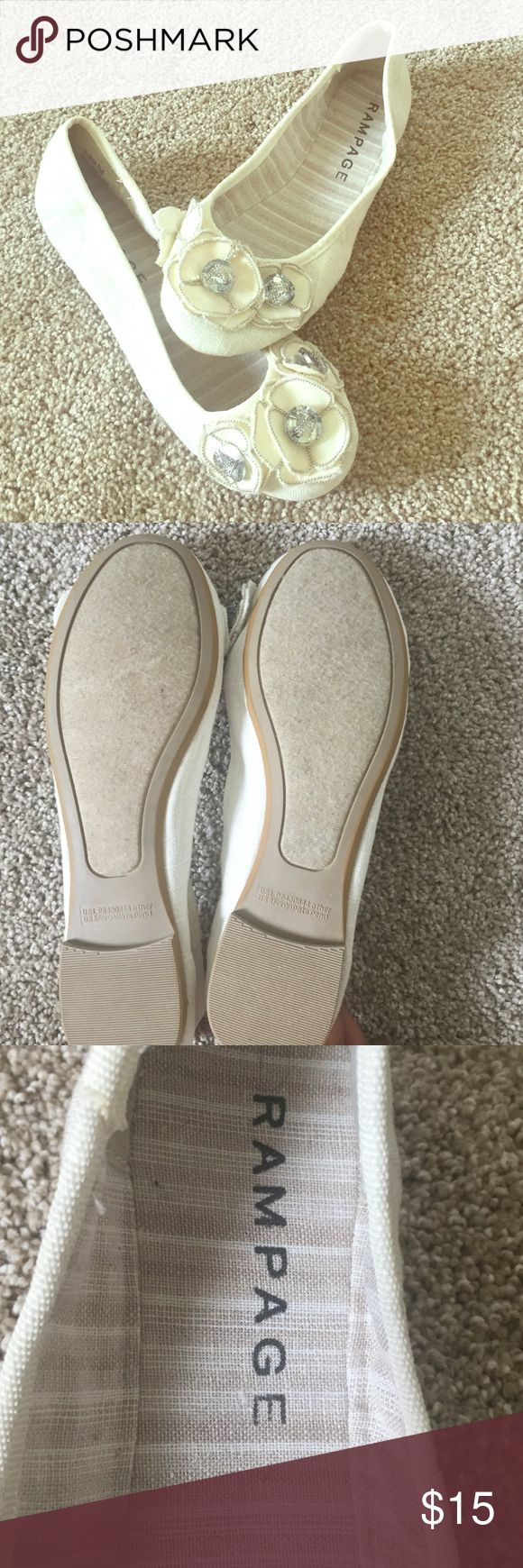 New Rampage Cream Ballet Flats with flower decals Never been worn RAMPAGE Ballet Flats in Cream. Perfect for work and play, easy to dress down and dress up. Classic statement piece perfect for summer, spring and fall outfits. Rampage Shoes Flats & Loafers