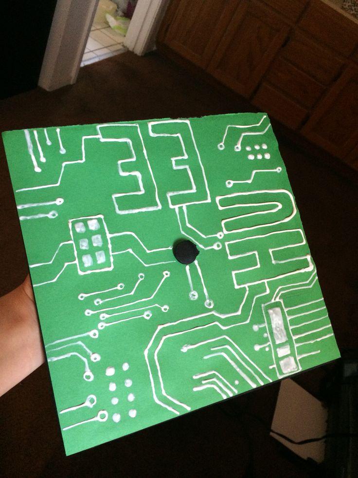 Grad Cap was a success! #Electrical #Engineer #gradcaps #diy #puffypaint #HU #EE