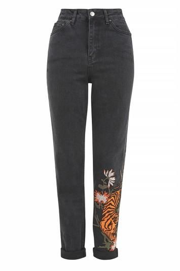 Topshop TALL Tiger Applique Mom Jeans
