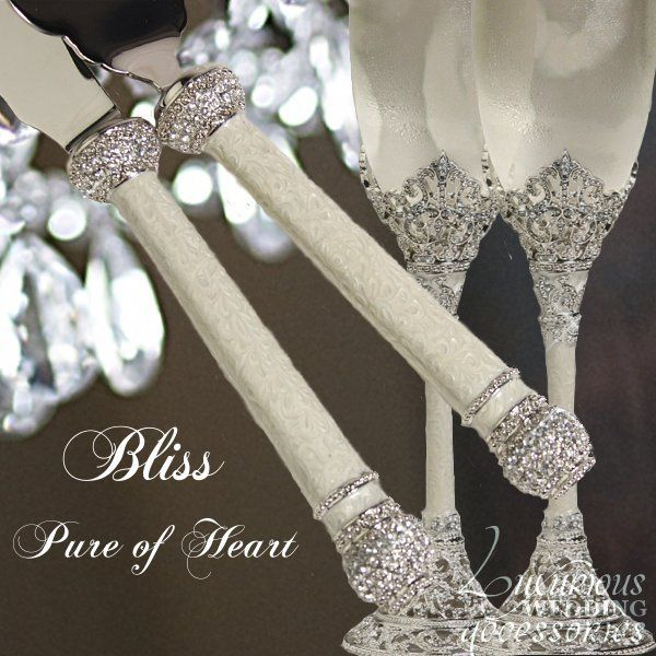 Luxurious Wedding Accessories — Bliss Pure of Heart Swarovski Crystal Champagne Flutes