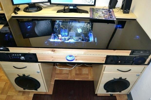 Eingebauter Computer Schreibtisch Computertisch Diy Schreibtisch Ideen Gaming Schreibtisch