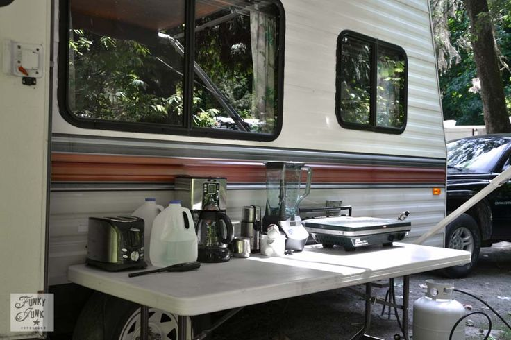 Tips for camping in a travel trailer, via Funky Junk Interiors - outdoor kitchen