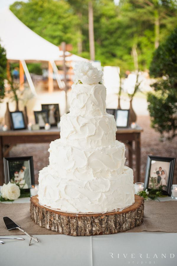 Rustic Wedding Cake On Wood Stand