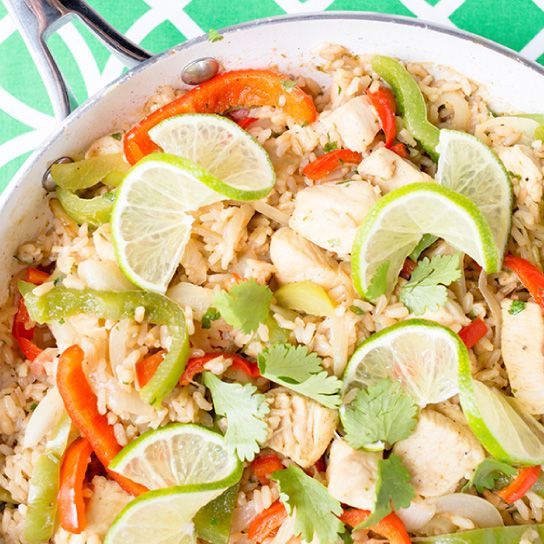 One-Pan Cilantro Lime Chicken and Rice from Skinny Mom