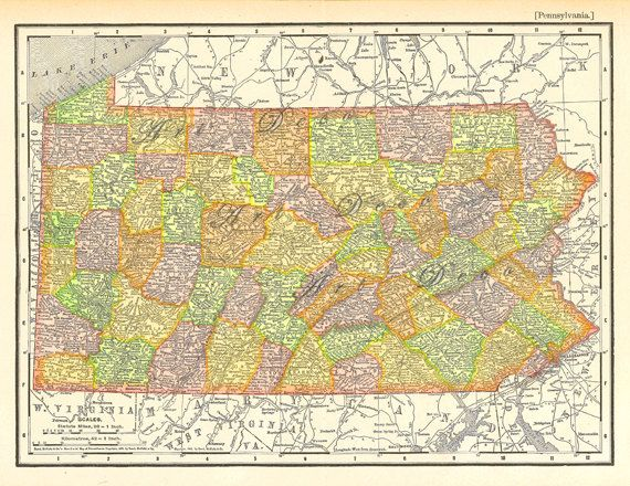 A personal favorite from my Etsy shop https://www.etsy.com/listing/105552539/old-map-of-pennsylvania-vintage