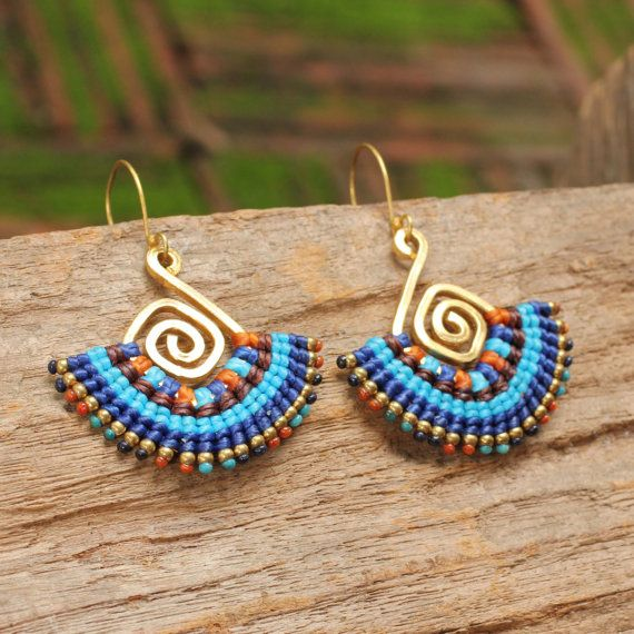 Shaped brass and woven cotton tribal earrings