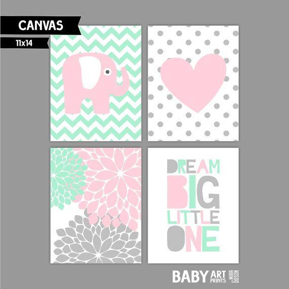 Light Pink Mint Nursery Baby Girl Nursery canvas by babyartprints