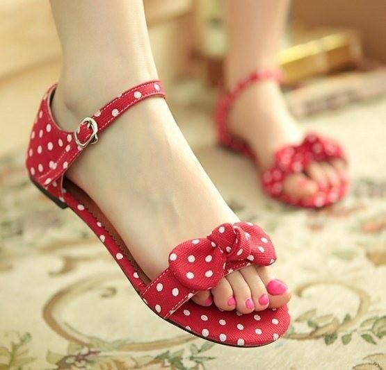Sweetheart Polka Dot Bow Sandals Summer - Polka Dotted All The Things Boutique - Shop Now!