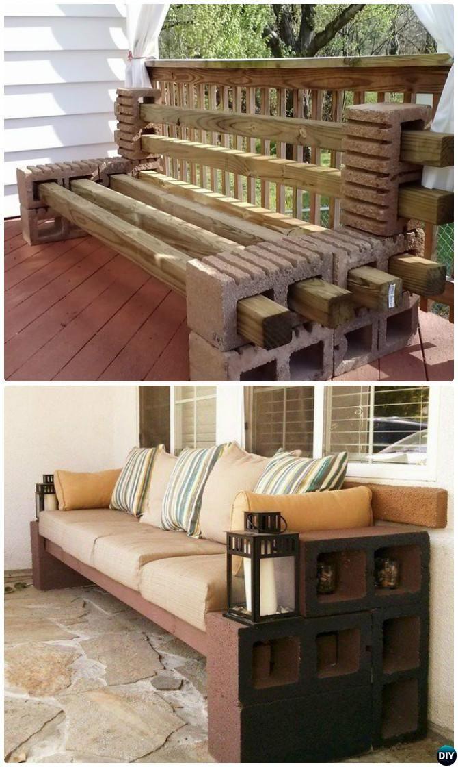 DIY Concrete Cinder Block Bench Seating-10 DIY Concrete Block Furniture Projects