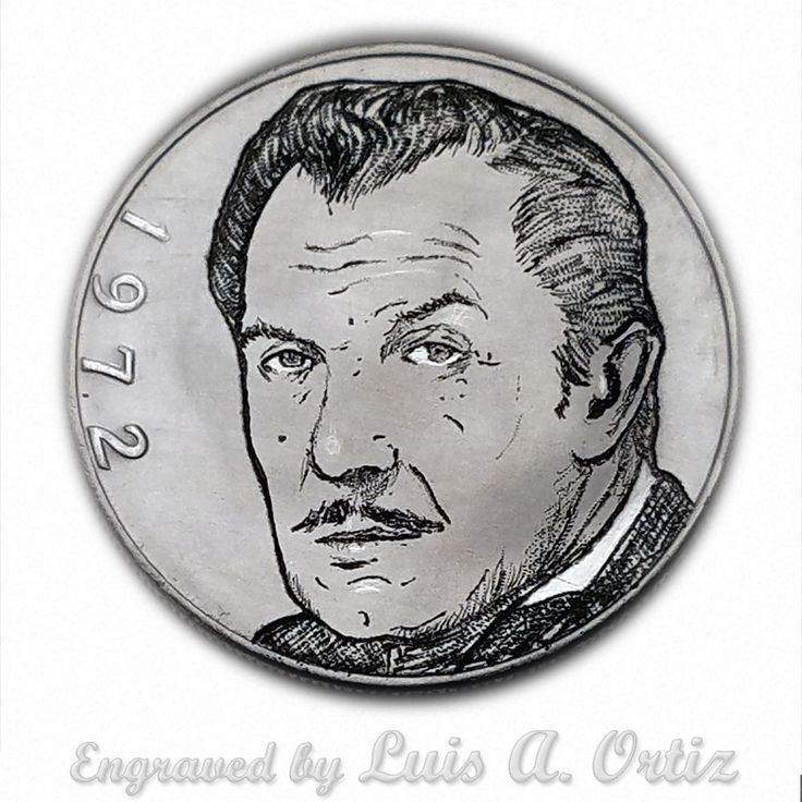 Vincent Price S1066  Ike Hobo Nickel Engraved by Luis A Ortiz