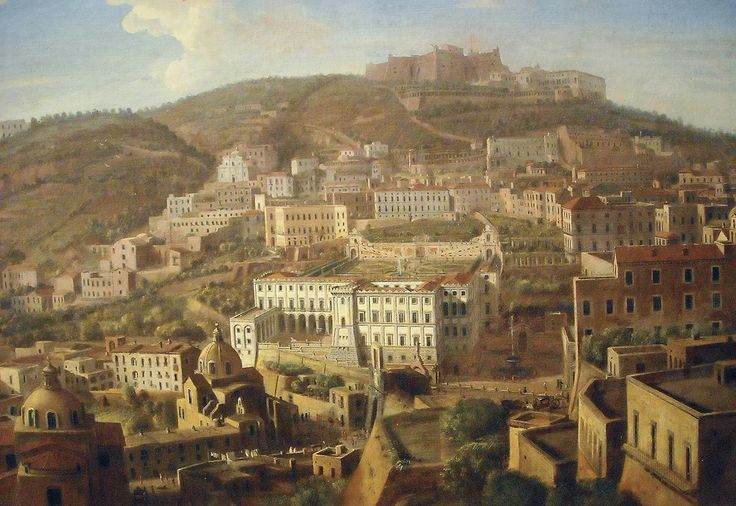 """Castle Sant'Elmo and Carthusian monastery of San Martino in Naples "" (Detail) - ""View of Naples with the District of Chiaia from Pizzofalcone"" (early 18th century) by Gaspar van Wittel (Amersfoort 1653-Rome 1736) - The Museum of Zevallos Stigliano Palace."
