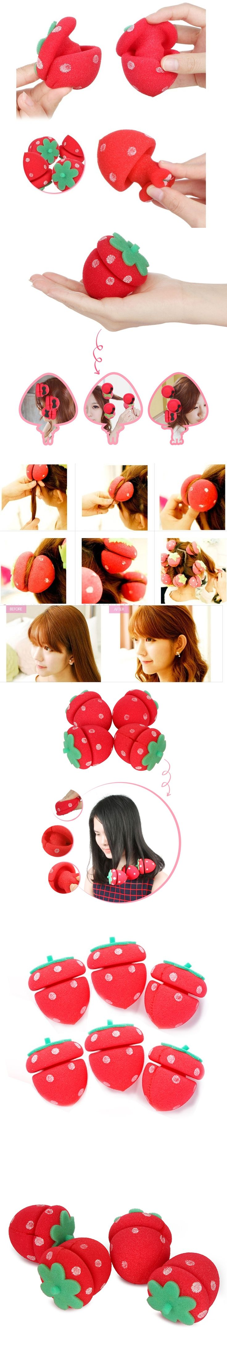 6Pcs/Set Lovely Curling Hair Foam Rollers Hair Curler Rolls Twists Strawberry Balls Sponge DIY Hairstyle Hair Care Styling Tools
