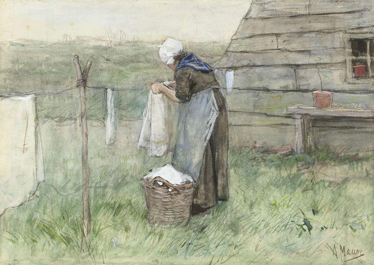 Vrouw bij een waslijn, Anton Mauve, 1848 - 1888
